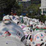 Comisionistas de Gaseras en paro Nacional en protesta por la fijación de precios
